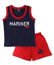 Simply Sleeveless T-Shirt & Shorts Mariner 1965 Print - Navy Red