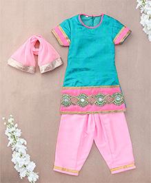 Sorbet Salwar Kurta Set With Lace & Dupatta - Green