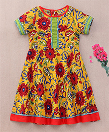 Sorbet Printed Cotton Anarkali With Border & Lace - Yellow