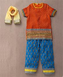 Sorbet Kurta Salwar Set With Dupatta - Orange