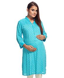 Kriti Three Fourth Sleeves Maternity Nursing Kurta - Aqua Blue