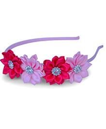 Little Miss Cuttie Floral Hair Band - Hot Pink & Pink