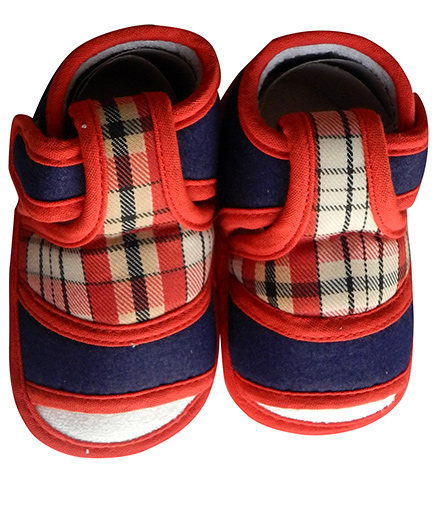 Beebop Checkered Booties - Red & Blue