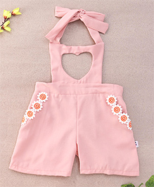 Chic Girls Heart Design Dungaree With Tie Up - Peach