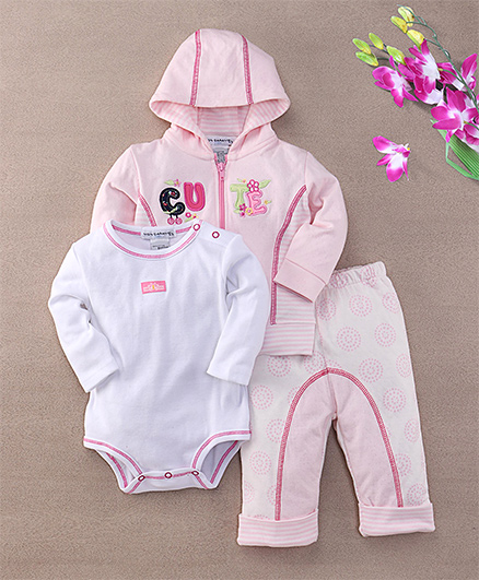 Mon Caramel Hooded Suit With Romper - Pink