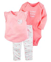 Carter's 3-Piece Babysoft Neon Bodysuit & Pant Set - Peach White