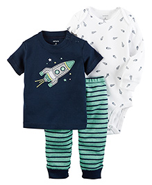 Carter's 3-Piece Babysoft Bodysuit & Pant Set - Green Blue