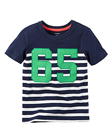 Carter's Half Sleeves Stripe T-Shirt Numeric 65 Patch - Navy Blue White