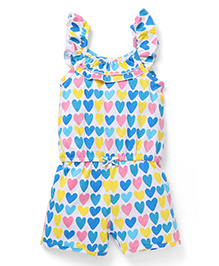 Cucumber Flutter Sleeves Jumpsuit Hearts Print - Blue White