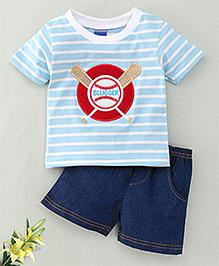 Happy Life Slugger Print Shorts & Tee Set - Light Blue & Blue