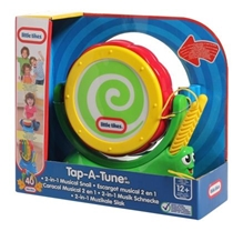 Tap - A  - Tune 2 - in - 1 Musical Snail 12 Months+, Try me, Pick up the drumsticks, Spin the shell, Play a tune,...