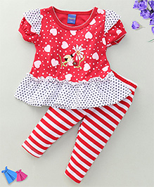 Happy Life Lady Bug Print Dress & Leggings Set - Red