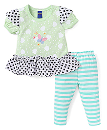 Happylife Half Sleeve Dress With Pant Set - Green