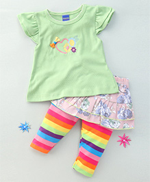 Happy Life Heart Tee & Floral Striped Skirt With Leggings Attached - Green & Pink