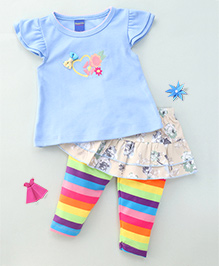 Happy Life Heart Tee & Floral Striped Skirt With Leggings Attached - Blue & Off White