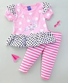 Happy Life Polka Dot Tee With Hearts & Striped Leggings - Pink