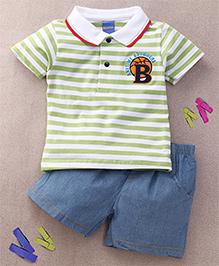 Happy Life B Print T-Shirt & Pant Set - Green & Blue