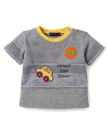 Great Babies Car Print T-Shirt - Grey & Yellow