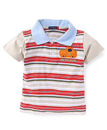 Great Babies Striped Half Sleeves T-Shirt - Blue & Brown
