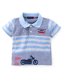 Great Babies Born To Ride Print T-Shirt - Blue