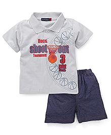 Great Babies Basketball Print T-Shirt & Pant Set - Grey