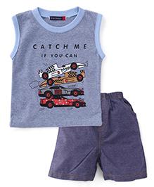Great Babies Sports Car Print Tee & Shorts Set - Blue
