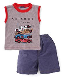 Great Babies Sports Car Print Tee & Shorts Set - Red & Grey