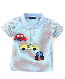 Great Babies Striped Half Sleeves Polo T-Shirt - Blue