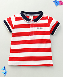 Bee Bee Stripe Print T-Shirt - Red & Blue
