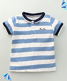 Bee Bee Stripe Print T-Shirt - Sky Blue