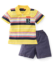 Great Babies Supper Kids Print Tee & Pant Set - Yellow & Blue