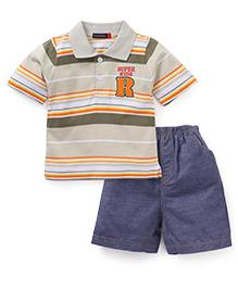 Great Babies Supper Kids Print Tee & Pant Set - Grey & Blue