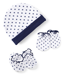Ben Benny Cap Mittens And Booties Set Dots Print - Navy Blue White