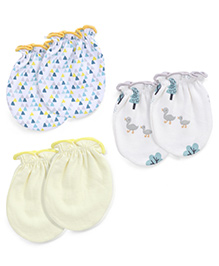 Ben Benny Printed Mittens Pack of 3 Pair - Yellow White blue
