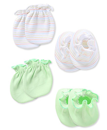Ben Benny Mittens And Booties Set Of 2 - Green White