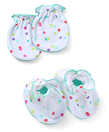 Ben Benny Mittens And Booties Set - White Green