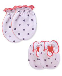 Ben Benny Mittens And Booties Set - White Peach