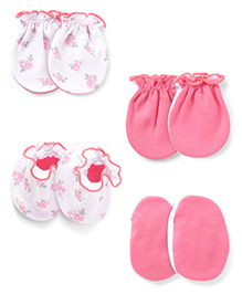 Ben Benny Mittens And Booties Set - Light Pink White