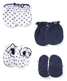 Ben Benny Mittens And Booties Set - Navy White