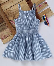 Eimoie Polka Print Gathered Dress - Blue