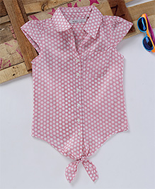 Eimoie Dot Print Tie Up Shirt - Pink