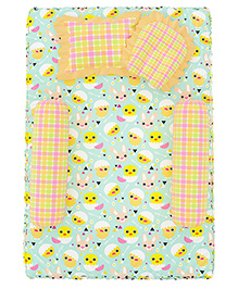 Fancy Fluff 4 Piece Premium Baby Mattress Set Chick Design - Sea Green