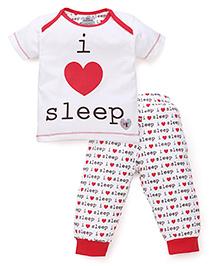 Mini Taurus Half Sleeves T-Shirt And Pajama Sleep Print - Red White