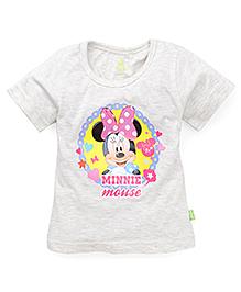 Bodycare Half Sleeves Top Minnie Mouse Print - Light Grey