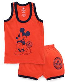 Bodycare Sleeveless T-Shirt And Shorts Set Mickey Mouse Print - Dark Orange