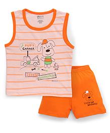 Bodycare Sleeveless Stripe T-Shirt And Shorts Little Mechanic Print - Peach Orange