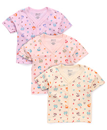 Bodycare Half Sleeves Printed Vests Pack of 3 - Pink Yellow Peach (Colors and Prints May Vary)