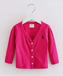 Mauve Collection Solid Colour Full Sleeves Sweater - Hot Pink