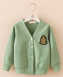 Mauve Collection Full Sleeves Sweater With Applique - Green
