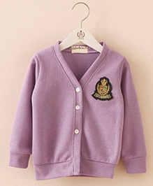 Mauve Collection Full Sleeves Sweater With Applique - Lavender